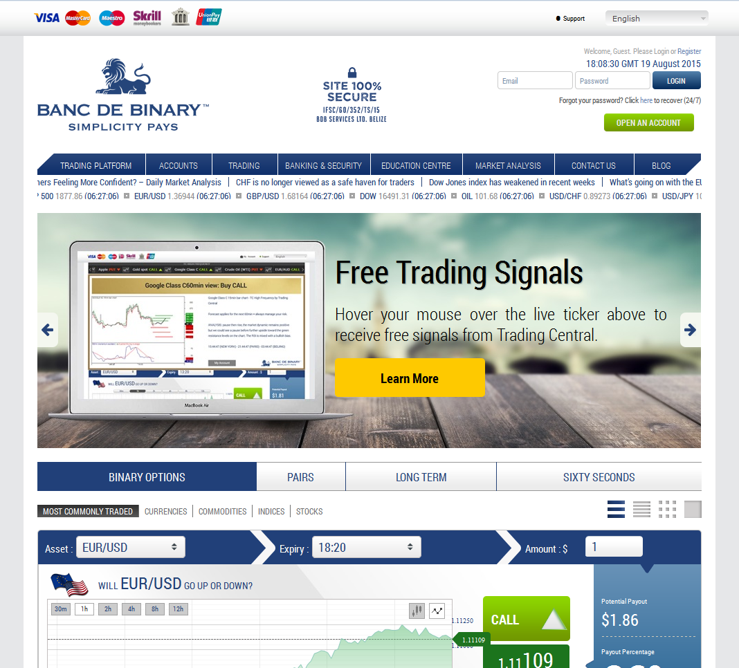 Binary option bank
