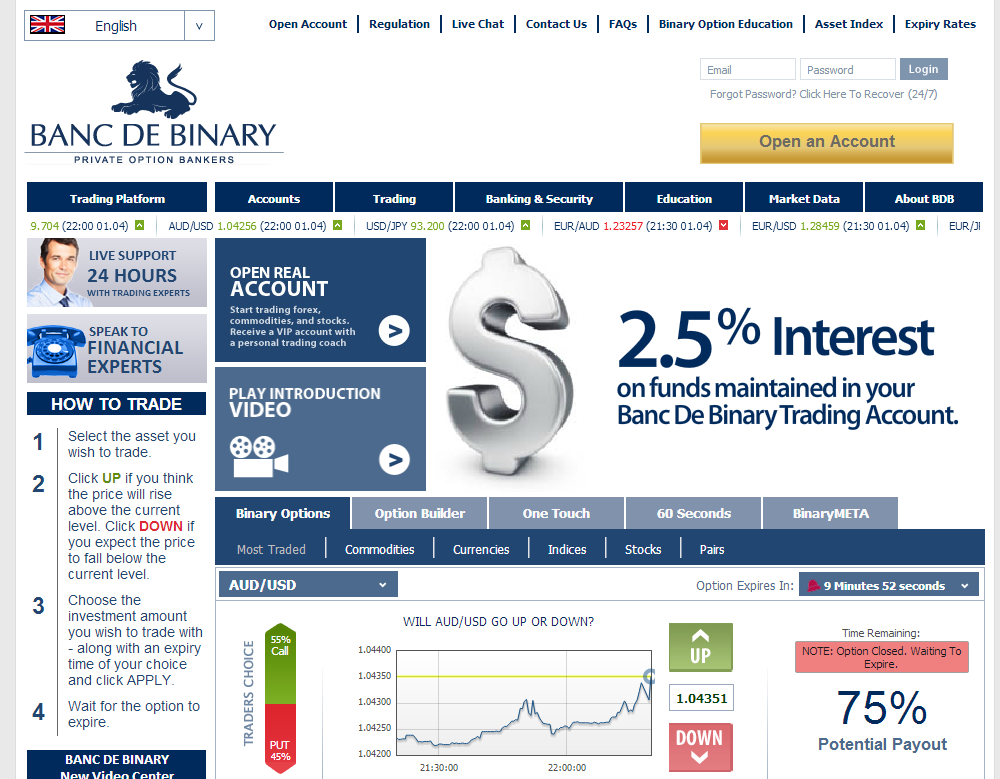 Binary option account