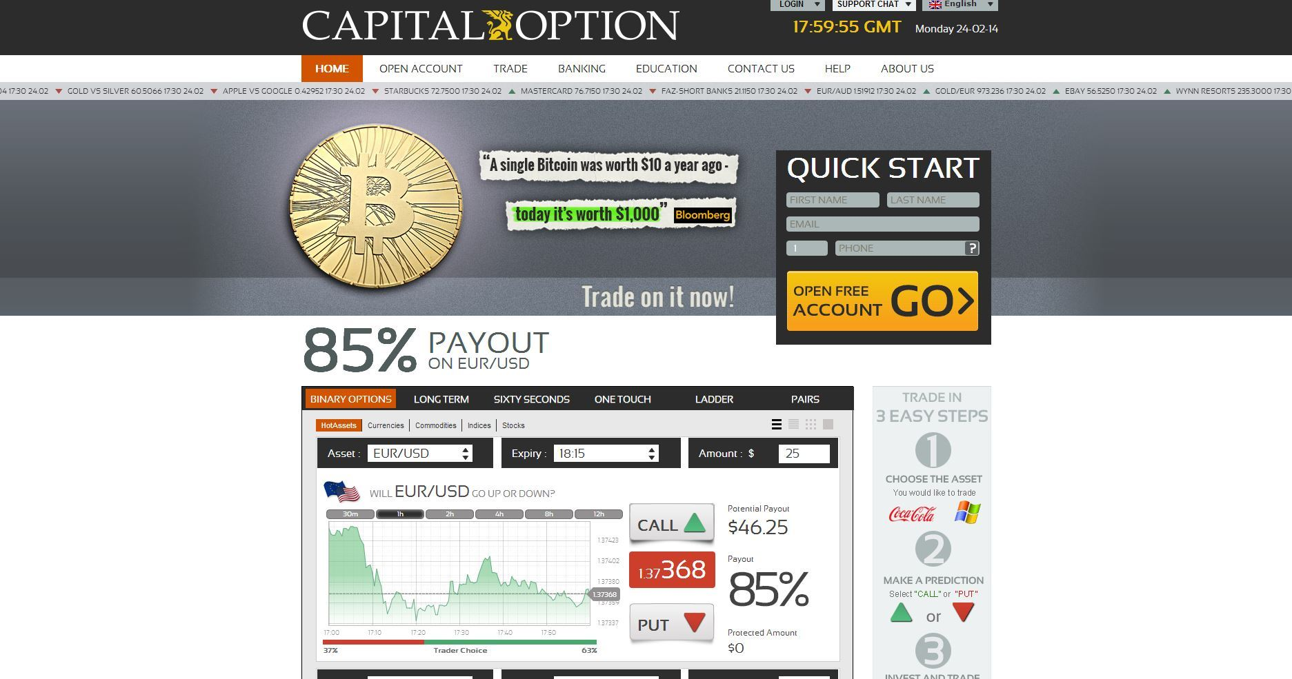 Binary option with no minimum deposit